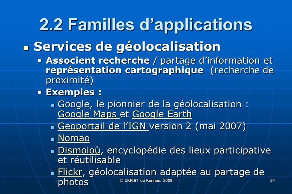 © URFIST de Rennes, 2008 24 2.2 Familles dapplications Services de géolocalisation Services de géolocalisation Associent recherche / partage dinformat