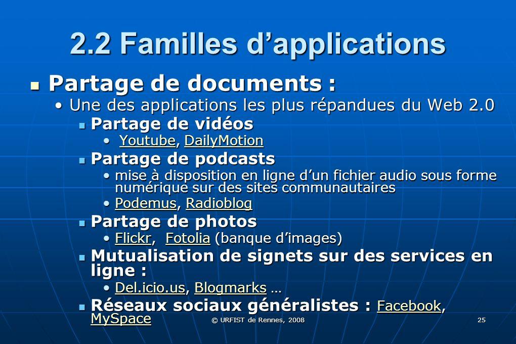 © URFIST de Rennes, 2008 25 2.2 Familles dapplications Partage de documents : Partage de documents : Une des applications les plus répandues du Web 2.