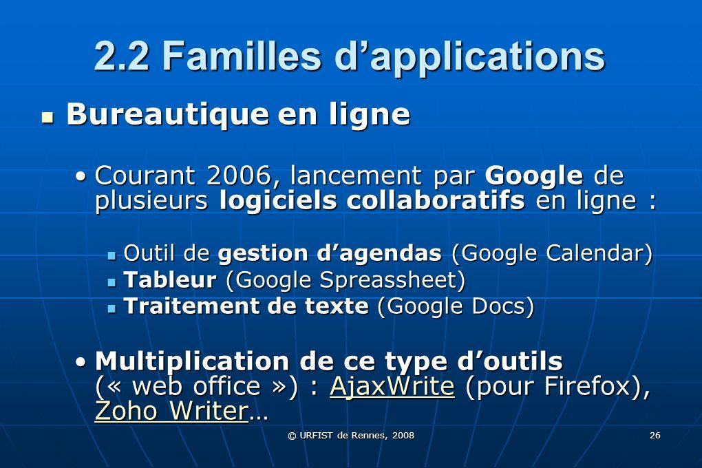 © URFIST de Rennes, 2008 26 2.2 Familles dapplications Bureautique en ligne Bureautique en ligne Courant 2006, lancement par Google de plusieurs logic