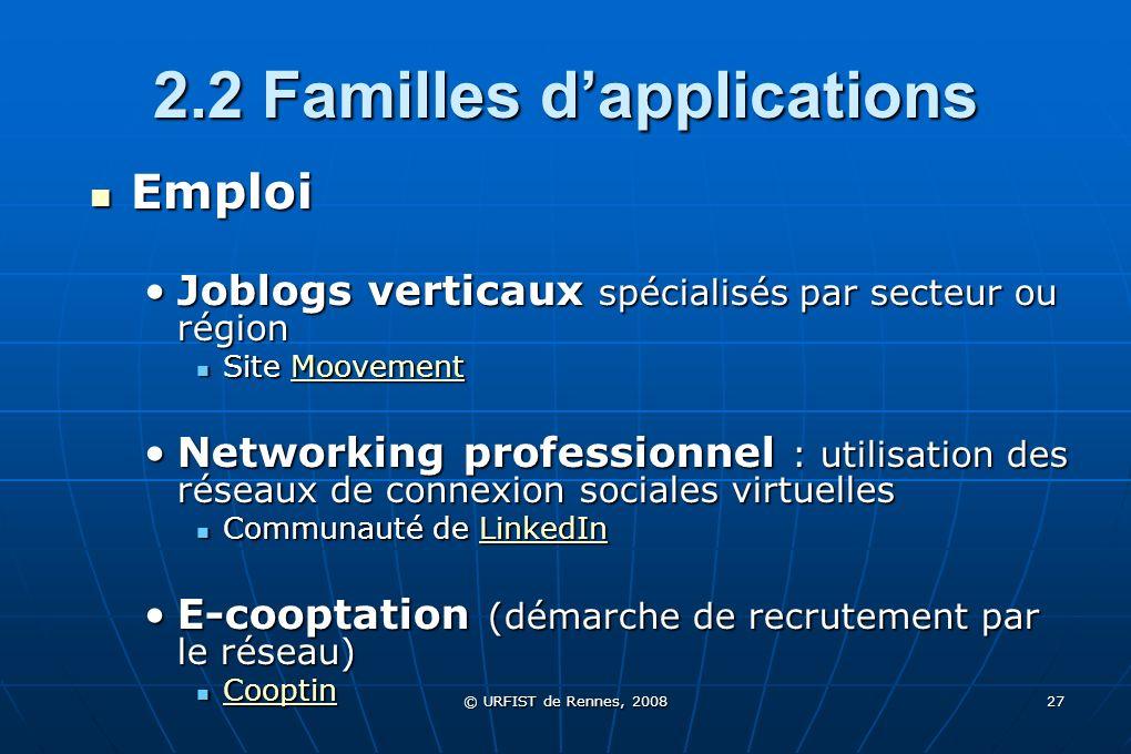 © URFIST de Rennes, 2008 27 2.2 Familles dapplications Emploi Emploi Joblogs verticaux spécialisés par secteur ou régionJoblogs verticaux spécialisés