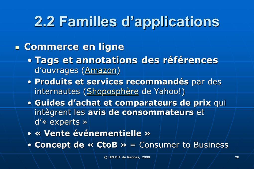© URFIST de Rennes, 2008 28 2.2 Familles dapplications Commerce en ligne Commerce en ligne Tags et annotations des références douvrages (Amazon)Tags e