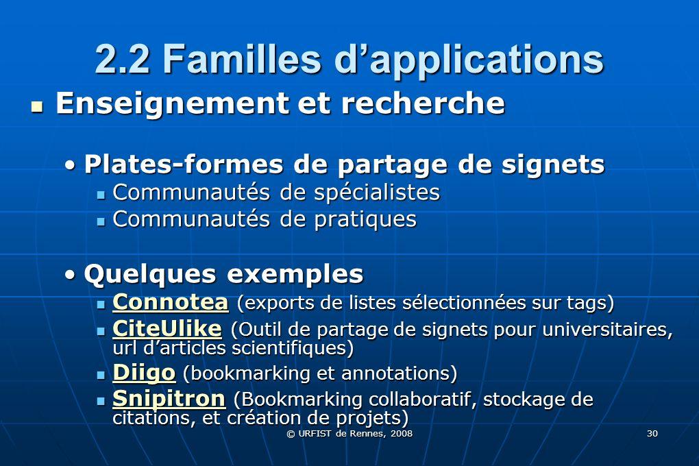 © URFIST de Rennes, 2008 30 2.2 Familles dapplications Enseignement et recherche Enseignement et recherche Plates-formes de partage de signetsPlates-f