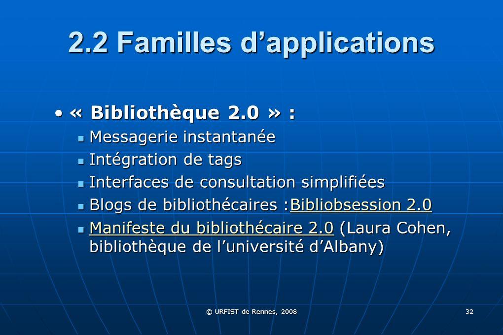 © URFIST de Rennes, 2008 32 2.2 Familles dapplications « Bibliothèque 2.0 » :« Bibliothèque 2.0 » : Messagerie instantanée Messagerie instantanée Inté