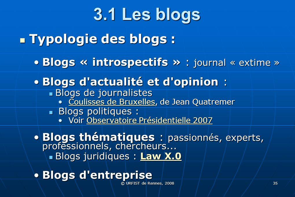 © URFIST de Rennes, 2008 35 3.1 Les blogs Typologie des blogs : Typologie des blogs : Blogs « introspectifs » : journal « extime »Blogs « introspectif
