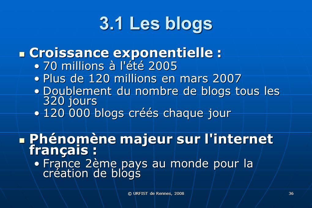 © URFIST de Rennes, 2008 36 3.1 Les blogs Croissance exponentielle : Croissance exponentielle : 70 millions à l'été 200570 millions à l'été 2005 Plus