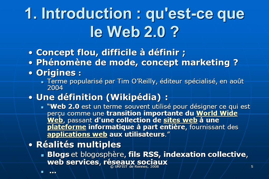 © URFIST de Rennes, 2008 66 5.1 Plates-formes de partage de signets del.icio.us : del.icio.us : del.icio.us La plus ancienneLa plus ancienne Créée en 2004 par Joshua Schachter, revendue à Yahoo en 2005Créée en 2004 par Joshua Schachter, revendue à Yahoo en 2005 partage de signets tous publicspartage de signets tous publics Création de réseauxCréation de réseaux LiveMarks : LiveMarks : LiveMarks pour suivre la création de signets sur Del.icio.us en temps réelpour suivre la création de signets sur Del.icio.us en temps réel Connotea : Connotea : Connotea : Connotea : Partage de signets dans le monde académique Lancé par revue Nature 144090 liens, 59548 tags et 13840 utilisateurs, dont 4811 actifs.
