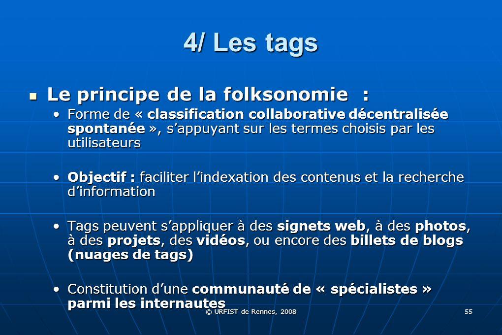 © URFIST de Rennes, 2008 55 4/ Les tags Le principe de la folksonomie : Le principe de la folksonomie : Forme de « classification collaborative décent