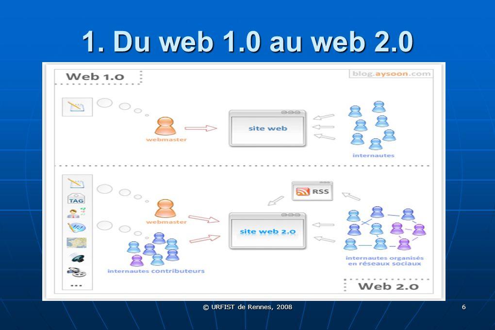 © URFIST de Rennes, 2008 6 1. Du web 1.0 au web 2.0