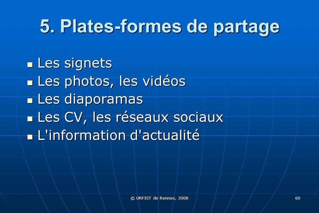 © URFIST de Rennes, 2008 60 5. Plates-formes de partage Les signets Les signets Les photos, les vidéos Les photos, les vidéos Les diaporamas Les diapo