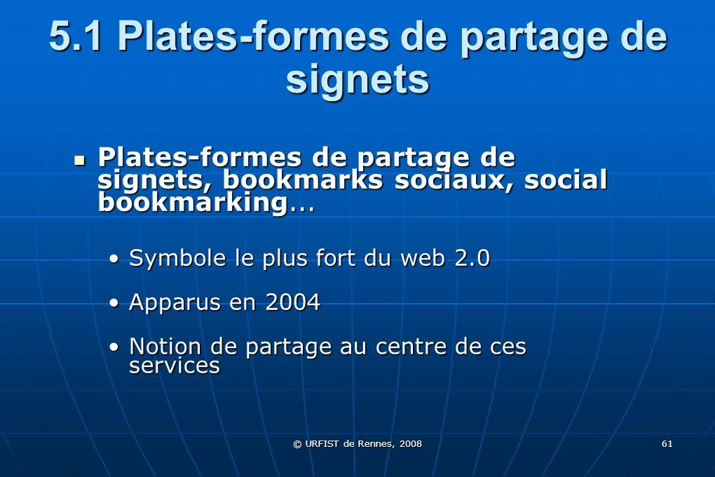 © URFIST de Rennes, 2008 61 5.1 Plates-formes de partage de signets Plates-formes de partage de signets, bookmarks sociaux, social bookmarking... Plat