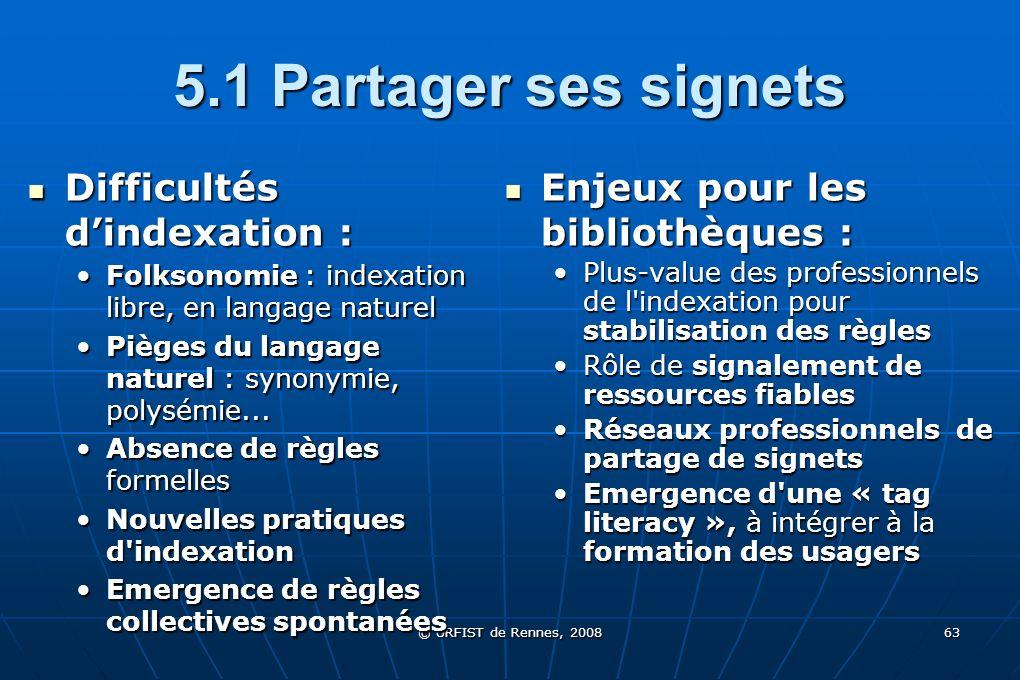 © URFIST de Rennes, 2008 63 5.1 Partager ses signets Difficultés dindexation : Difficultés dindexation : Folksonomie : indexation libre, en langage na