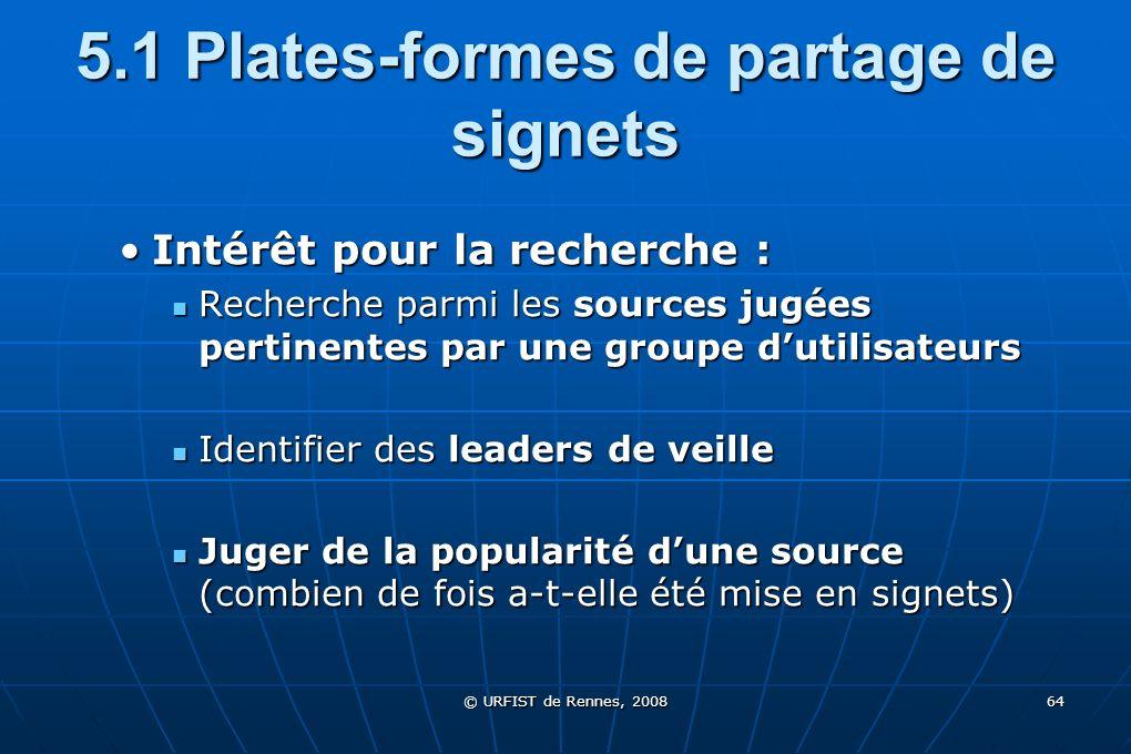 © URFIST de Rennes, 2008 64 5.1 Plates-formes de partage de signets Intérêt pour la recherche :Intérêt pour la recherche : Recherche parmi les sources