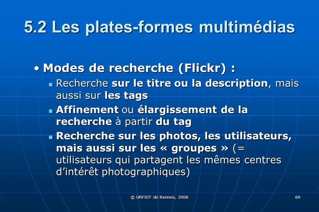 © URFIST de Rennes, 2008 69 5.2 Les plates-formes multimédias Modes de recherche (Flickr) :Modes de recherche (Flickr) : Recherche sur le titre ou la