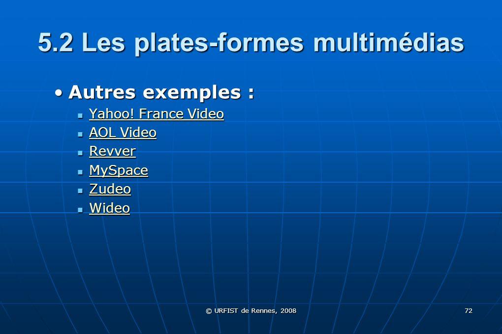 © URFIST de Rennes, 2008 72 5.2 Les plates-formes multimédias Autres exemples :Autres exemples : Yahoo! France Video Yahoo! France Video Yahoo! France