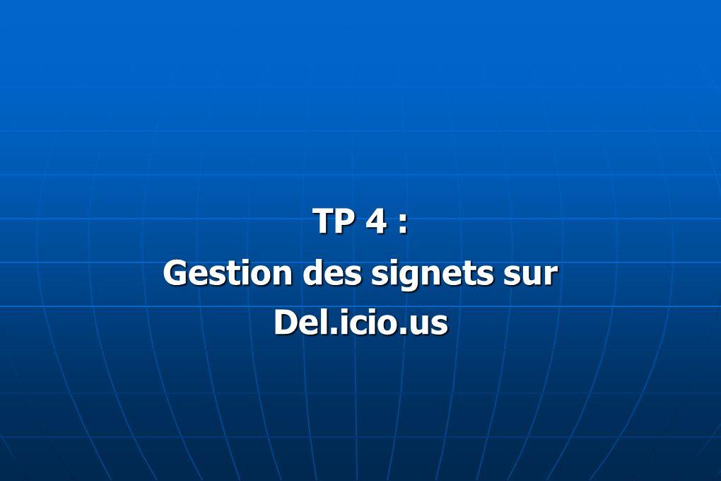 TP 4 : Gestion des signets sur Del.icio.us