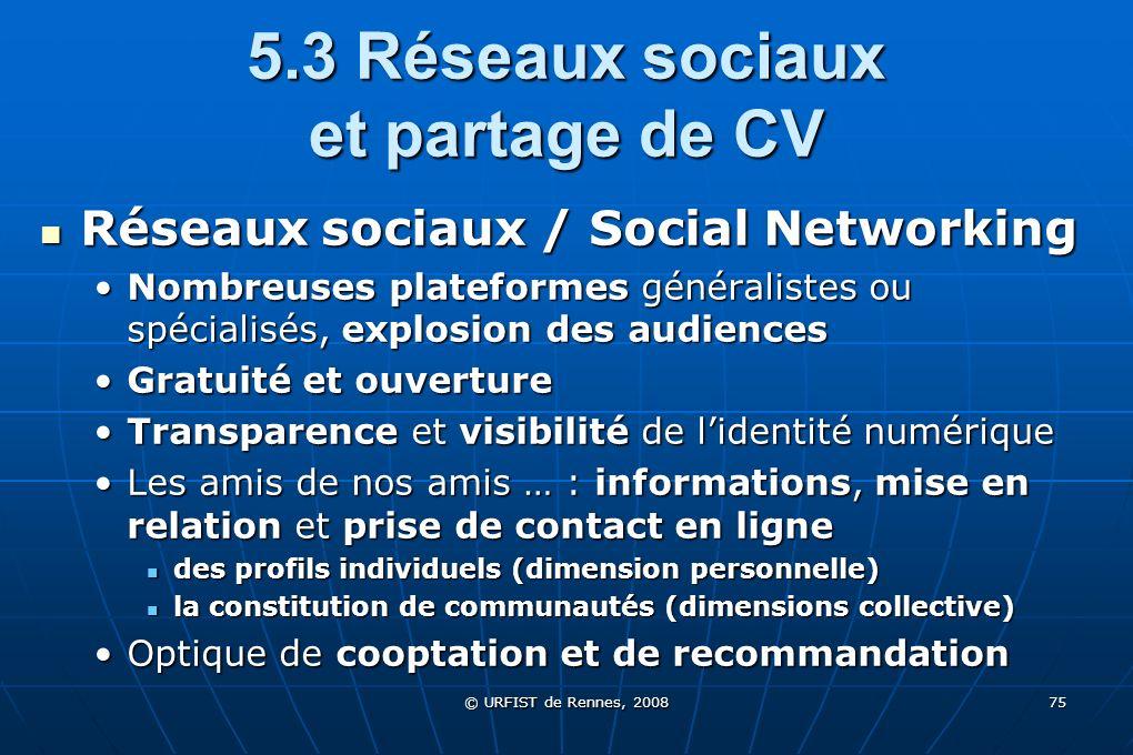 © URFIST de Rennes, 2008 75 5.3 Réseaux sociaux et partage de CV Réseaux sociaux / Social Networking Réseaux sociaux / Social Networking Nombreuses pl