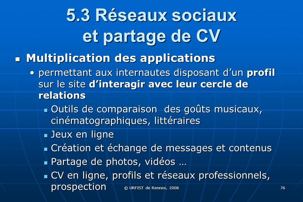 © URFIST de Rennes, 2008 76 5.3 Réseaux sociaux et partage de CV Multiplication des applications Multiplication des applications permettant aux intern