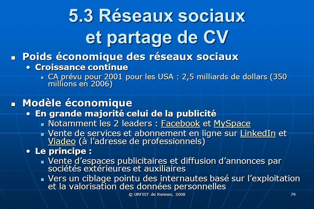 © URFIST de Rennes, 2008 79 5.3 Réseaux sociaux et partage de CV Poids économique des réseaux sociaux Poids économique des réseaux sociaux Croissance