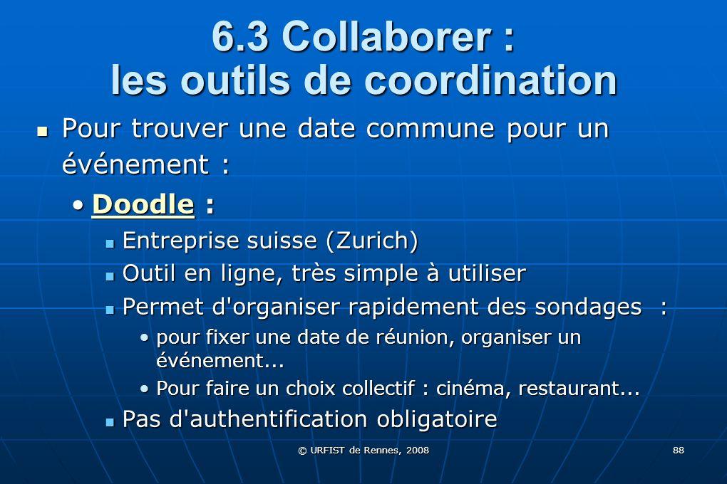 © URFIST de Rennes, 2008 88 6.3 Collaborer : les outils de coordination Pour trouver une date commune pour un événement : Pour trouver une date commun