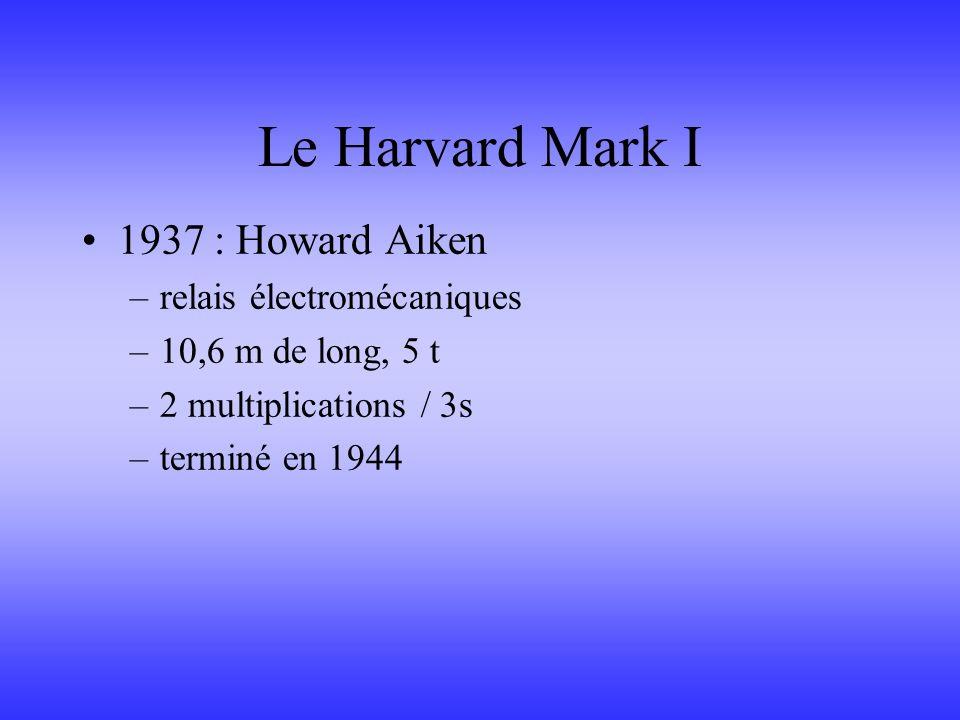 Le Harvard Mark I 1937 : Howard Aiken –relais électromécaniques –10,6 m de long, 5 t –2 multiplications / 3s –terminé en 1944