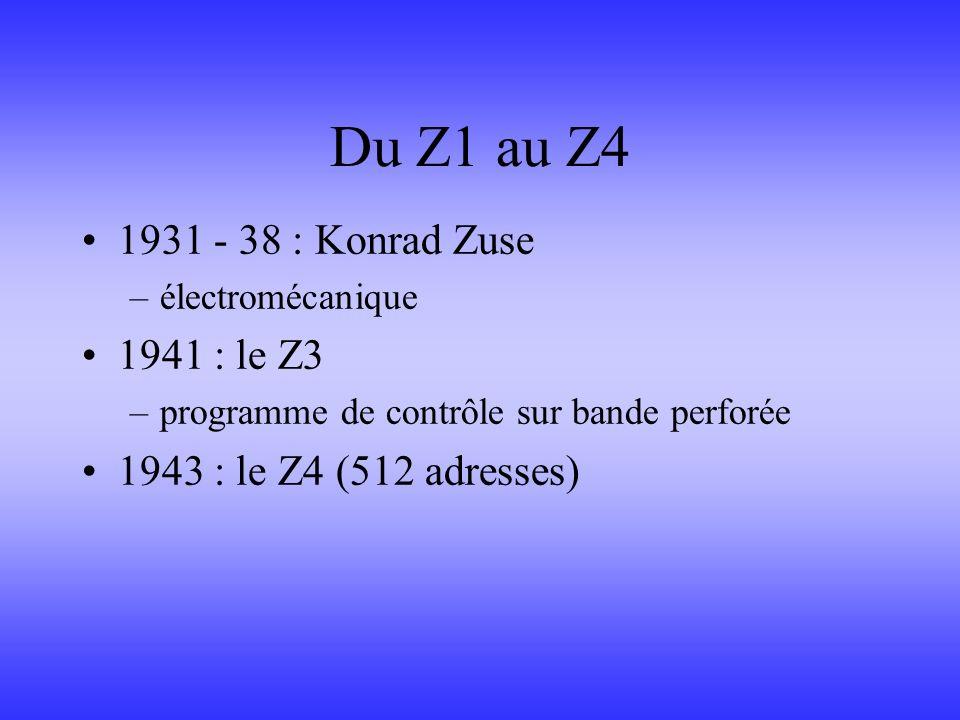 Du Z1 au Z4 1931 - 38 : Konrad Zuse –électromécanique 1941 : le Z3 –programme de contrôle sur bande perforée 1943 : le Z4 (512 adresses)