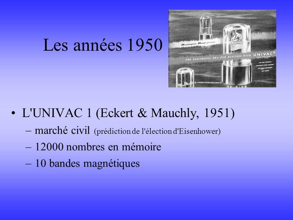 L'UNIVAC 1 (Eckert & Mauchly, 1951) –marché civil (prédiction de l'élection d'Eisenhower) –12000 nombres en mémoire –10 bandes magnétiques Les années