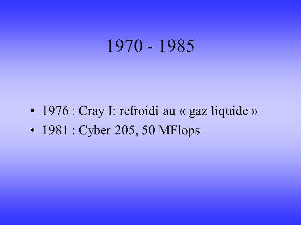 1970 - 1985 1976 : Cray I: refroidi au « gaz liquide » 1981 : Cyber 205, 50 MFlops