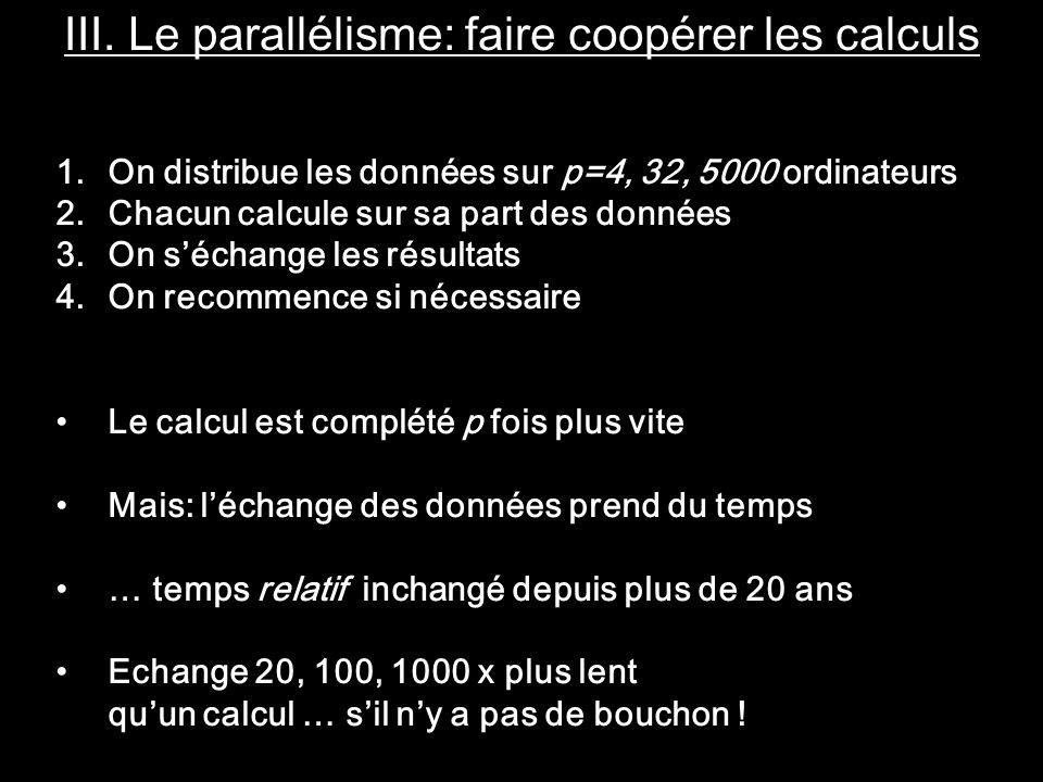 III. Le parallélisme: faire coopérer les calculs 1.On distribue les données sur p=4, 32, 5000 ordinateurs 2.Chacun calcule sur sa part des données 3.O