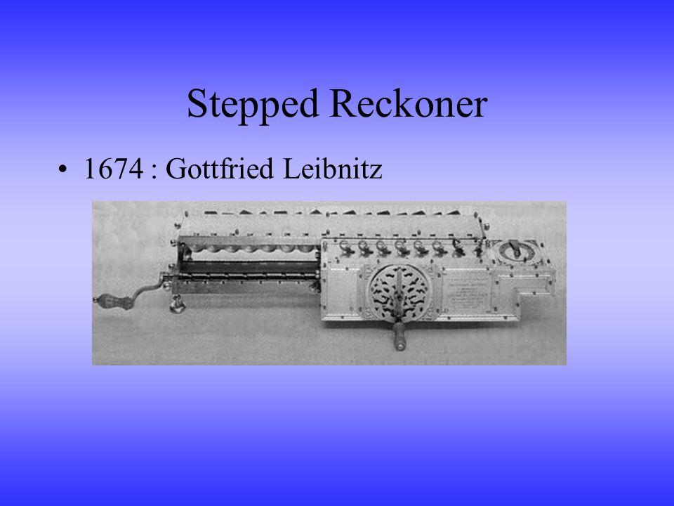 Stepped Reckoner 1674 : Gottfried Leibnitz