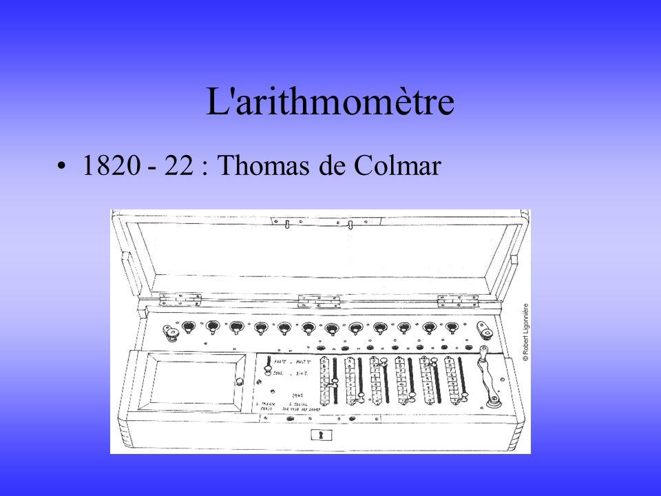 L'arithmomètre 1820 - 22 : Thomas de Colmar