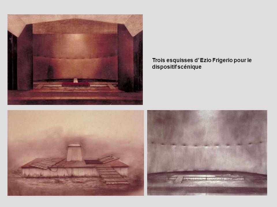 Trois esquisses d Ezio Frigerio pour le dispositif scénique