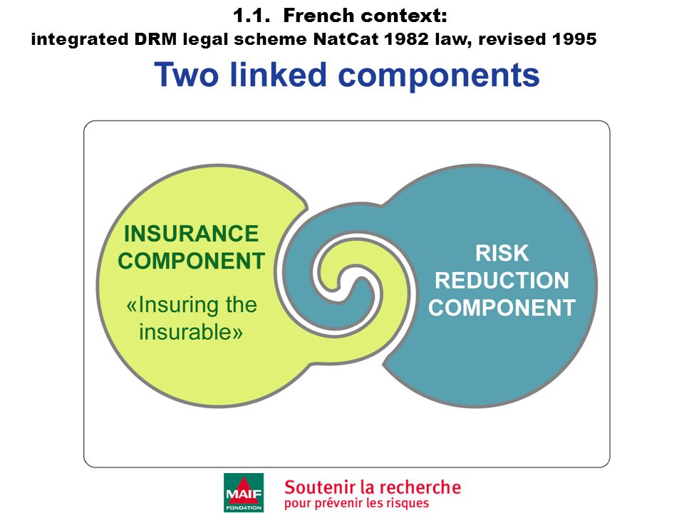1.1. French context: integrated DRM legal scheme NatCat 1982 law, revised 1995,2003
