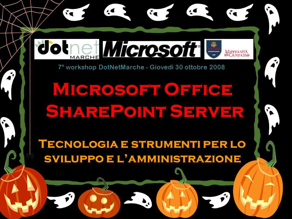 Microsoft Office SharePoint Server Tecnologia e strumenti per lo sviluppo e lamministrazione 7° workshop DotNetMarche - Giovedì 30 ottobre 2008