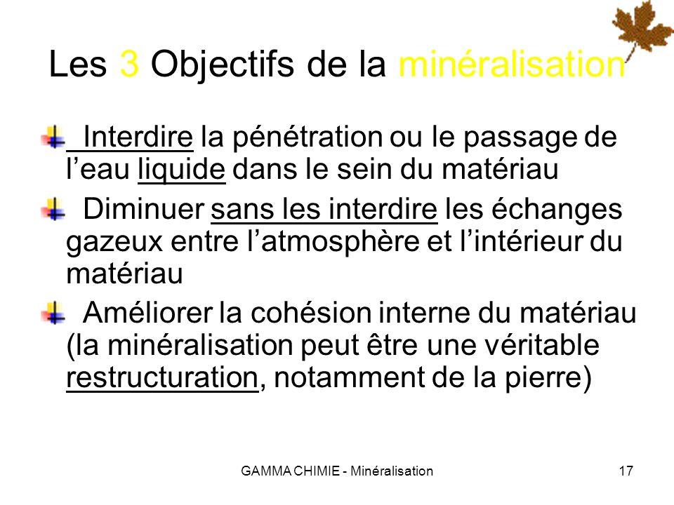 GAMMA CHIMIE - Minéralisation16 Quest ce que la minéralisation ? Etymologiquement, la minéralisation est lopération qui consiste à « rendre minéral ».