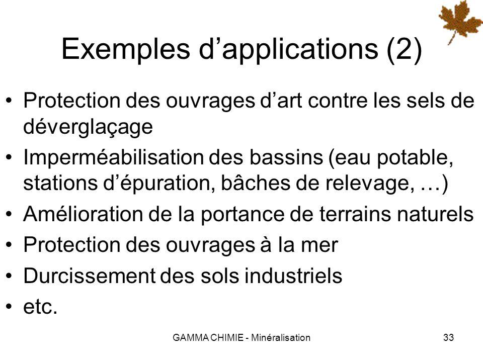 GAMMA CHIMIE - Minéralisation32 Exemples dapplications Le procédé SILITRANS ® est applicable à de nombreux domaines : Imperméabilisation et protection