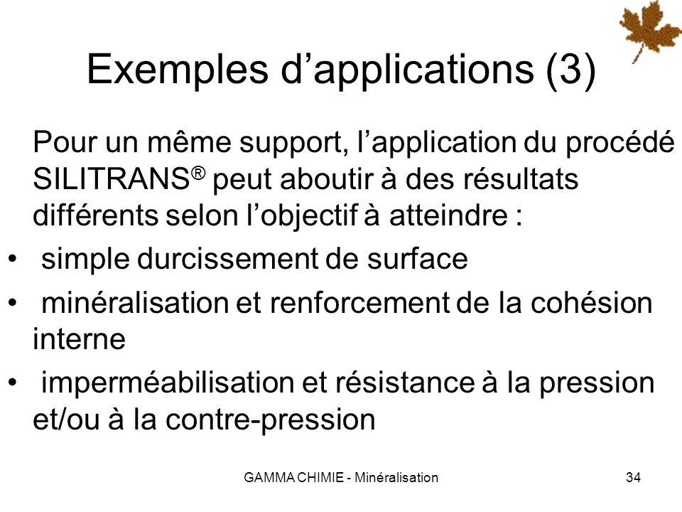 GAMMA CHIMIE - Minéralisation33 Exemples dapplications (2) Protection des ouvrages dart contre les sels de déverglaçage Imperméabilisation des bassins
