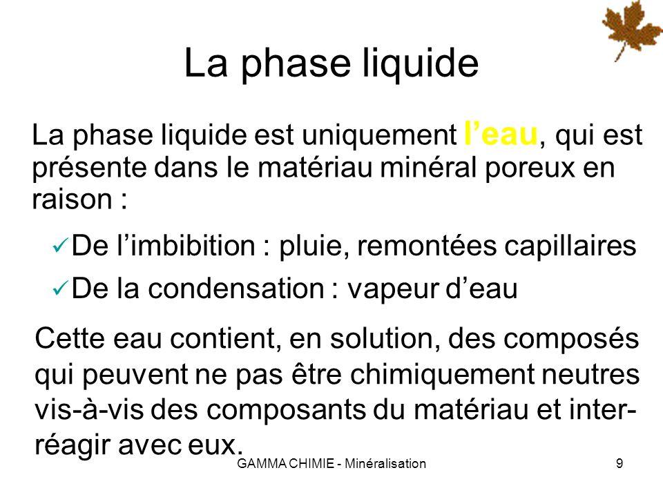 GAMMA CHIMIE - Minéralisation9 La phase liquide La phase liquide est uniquement leau, qui est présente dans le matériau minéral poreux en raison : De limbibition : pluie, remontées capillaires De la condensation : vapeur deau Cette eau contient, en solution, des composés qui peuvent ne pas être chimiquement neutres vis-à-vis des composants du matériau et inter- réagir avec eux.