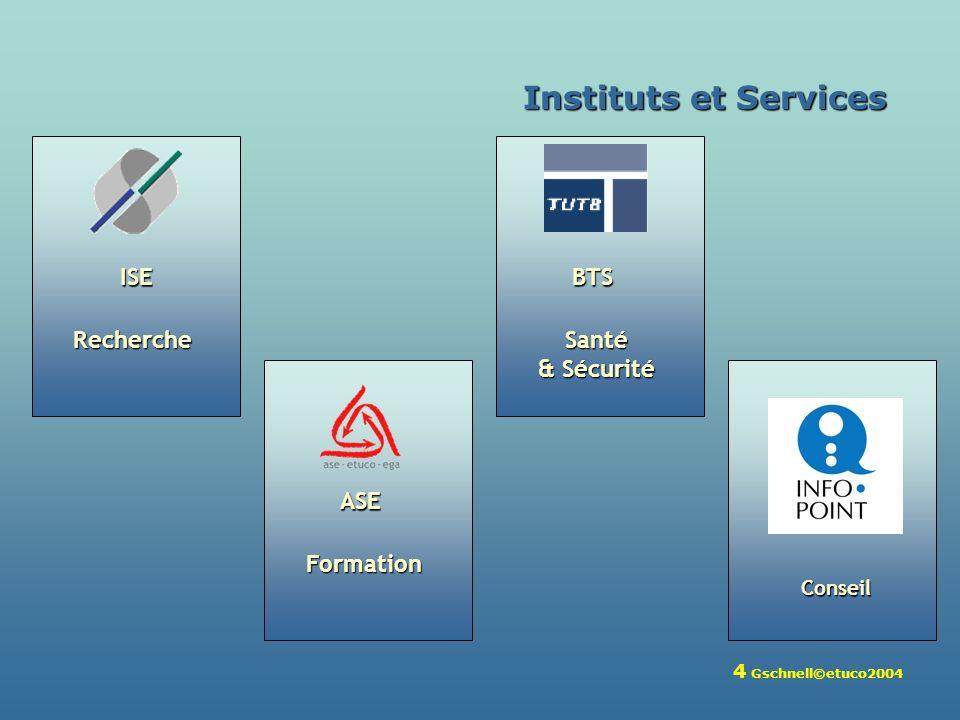 4 Gschnell©etuco2004 Recherche ISE Formation ASE Santé & Sécurité BTS Instituts et Services Conseil
