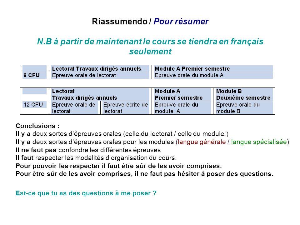 Riassumendo / Pour résumer N.B à partir de maintenant le cours se tiendra en français seulement Conclusions : Il y a deux sortes dépreuves orales (cel