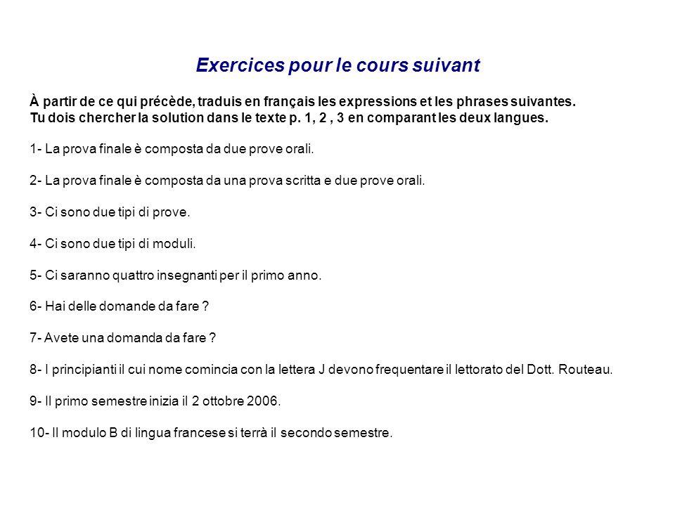 Exercices pour le cours suivant À partir de ce qui précède, traduis en français les expressions et les phrases suivantes. Tu dois chercher la solution