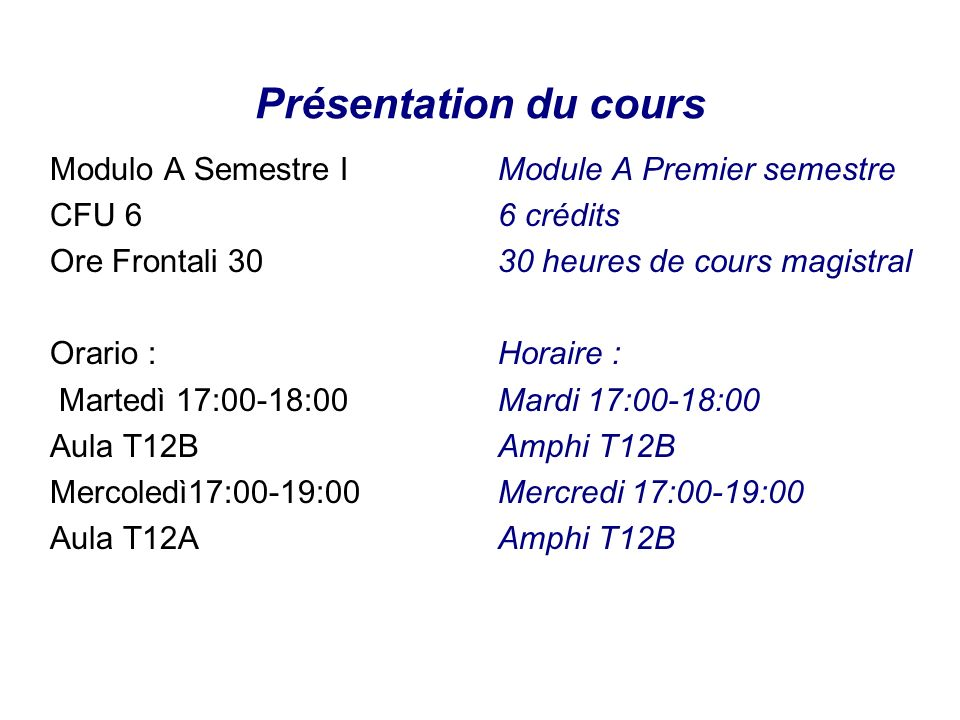 Présentation du cours Modulo A Semestre I CFU 6 Ore Frontali 30 Orario : Martedì 17:00-18:00 Aula T12B Mercoledì17:00-19:00 Aula T12A Module A Premier