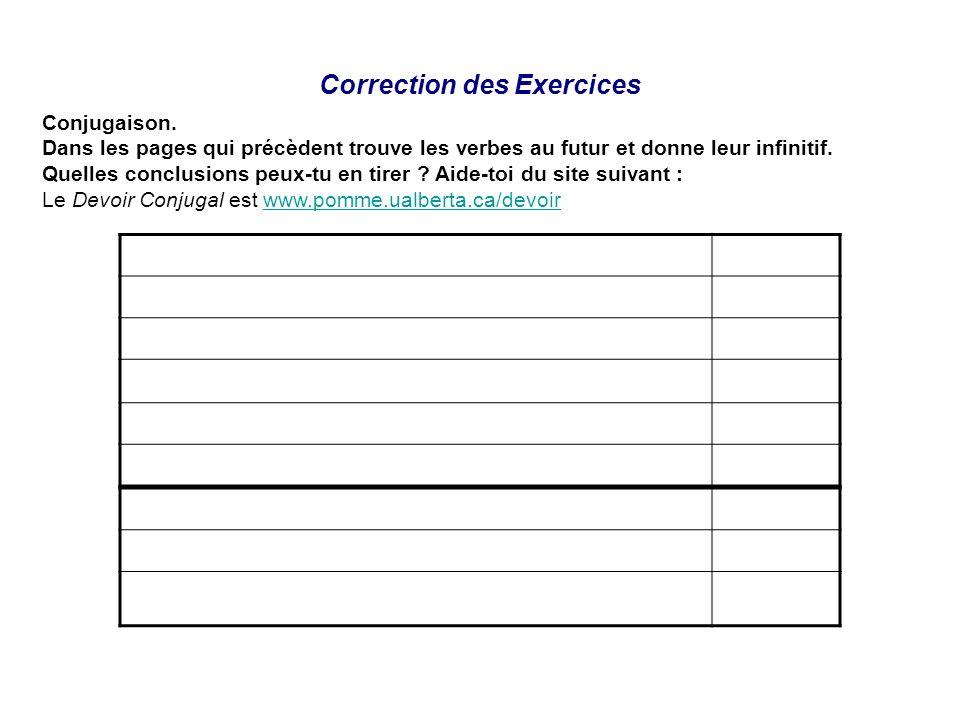 Correction des Exercices Conjugaison. Dans les pages qui précèdent trouve les verbes au futur et donne leur infinitif. Quelles conclusions peux-tu en