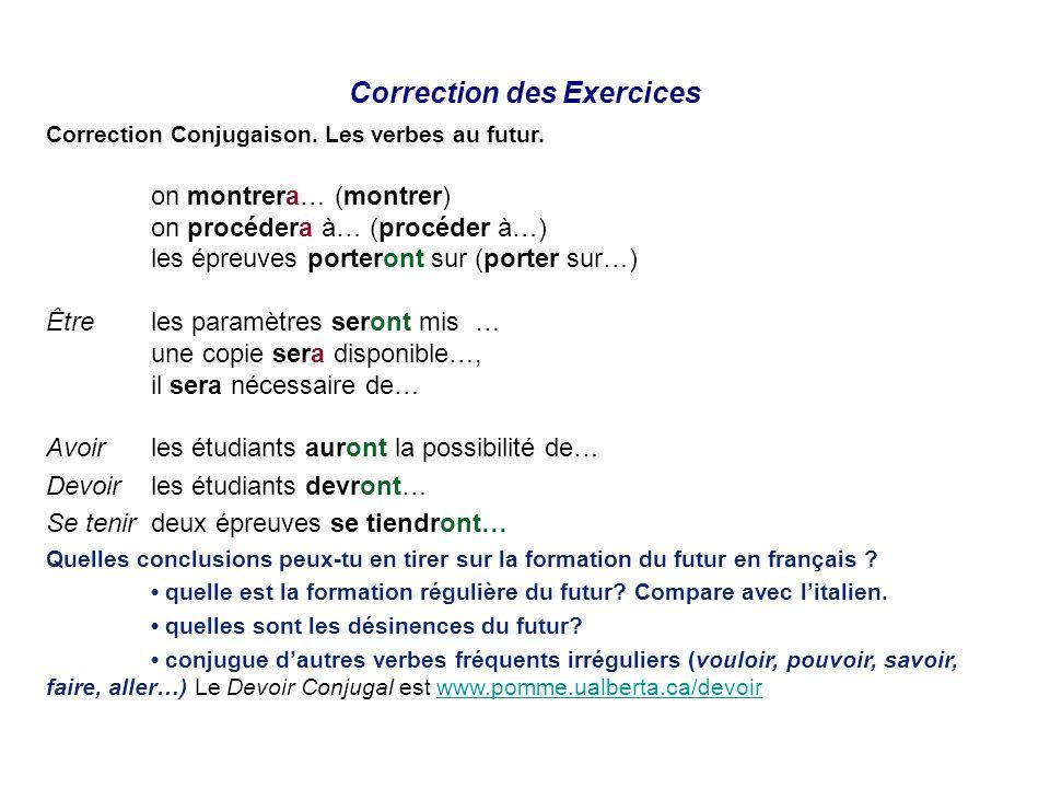 Correction des Exercices Correction Conjugaison. Les verbes au futur. on montrera… (montrer) on procédera à… (procéder à…) les épreuves porteront sur