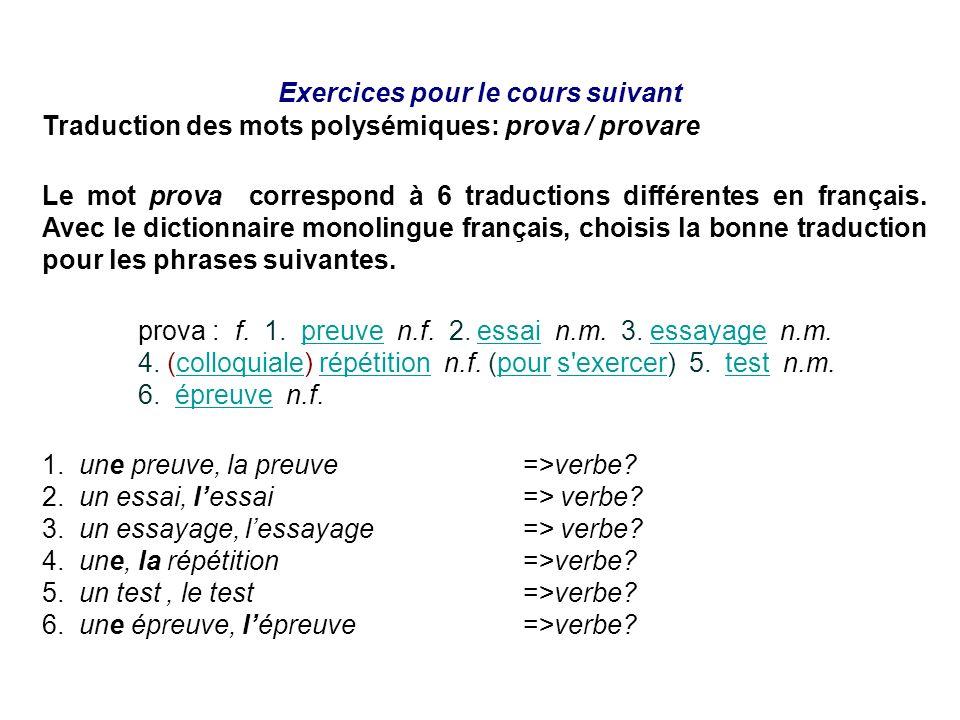Exercices pour le cours suivant Traduction des mots polysémiques: prova / provare Le mot prova correspond à 6 traductions différentes en français. Ave