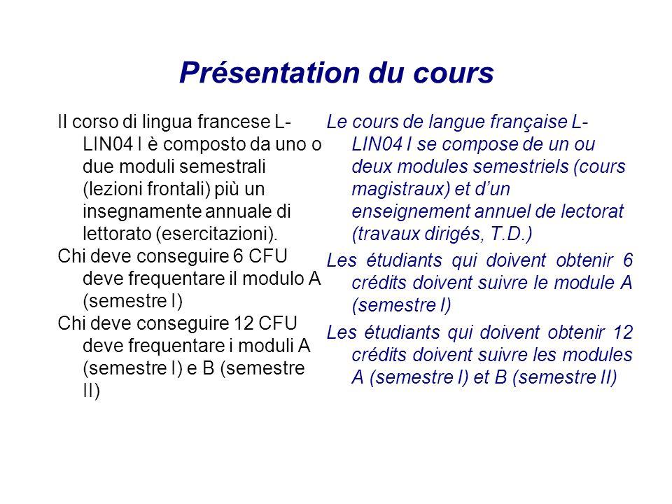 Présentation du cours Il corso di lingua francese L- LIN04 I è composto da uno o due moduli semestrali (lezioni frontali) più un insegnamente annuale