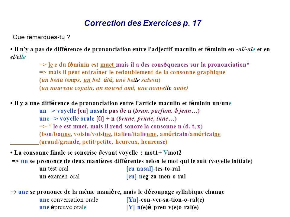 Correction des Exercices p. 17 Que remarques-tu ? Il n y a pas de diff é rence de prononciation entre l adjectif maculin et f é minin en -al/-ale et e