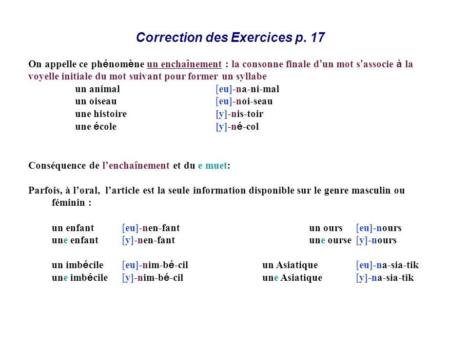 Correction des Exercices p. 17 Conséquence de lenchaînement et du e muet: Parfois, à loral, larticle est la seule information disponible sur le genre