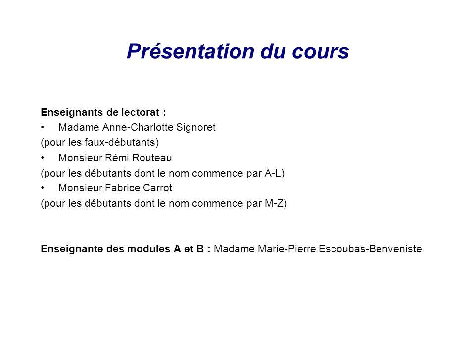 Présentation du cours Enseignants de lectorat : Madame Anne-Charlotte Signoret (pour les faux-débutants) Monsieur Rémi Routeau (pour les débutants don