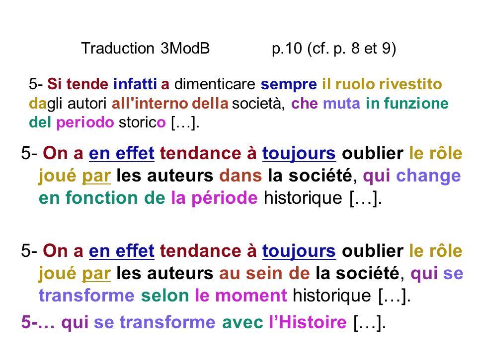 Traduction 3ModB p.10 (cf. p. 8 et 9) 5- On a en effet tendance à toujours oublier le rôle joué par les auteurs dans la société, qui change en fonctio