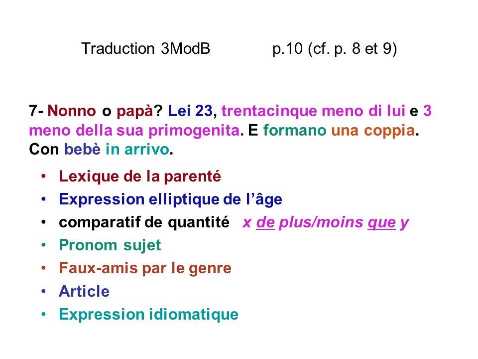 Traduction 3ModB p.10 (cf. p. 8 et 9) Lexique de la parenté Expression elliptique de lâge comparatif de quantité x de plus/moins que y Pronom sujet Fa
